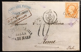 """Paquebots De La Méditerranée 1864 N°23 Obl GC De Lille Pour Rome +"""" Civitavecchia Dalla Via Di Mare """" + Taxe RR - Marcophilie (Lettres)"""