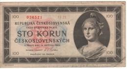 CZECHOSLOVAKIA  100   Korun    P67a  ( 16.5.1945 ) - Tchécoslovaquie