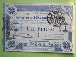 Bon Communaux De Un Franc - VILLE DE CAMBRAI (59) - 1914-1918 - Bons & Nécessité