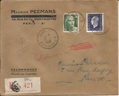 Lettre Recommandé Du 1949 Avec N° 701, N° 728 - 1921-1960: Periodo Moderno