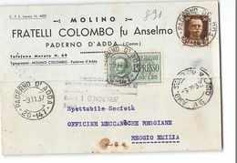 3482 01 MOLINO COLOMBO PADERNO D'ADDA X REGGIO EMILIA - TIMBRO AMBULANTE SONDRIO MILANO - 1900-44 Vittorio Emanuele III