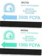 @+ Lot De 2 TC Autelca ONT De Cote D'Ivoire - 1000 Et 2500FCFA - Ivoorkust