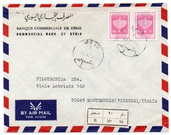 SYRIA/SYRIE - REGISTERED AIR MAIL COVER TO ITALY /BANQUE COMMERCIALE DE SYRIA S.A./BANK / ALEP CANCEL 1977 - Syria