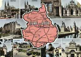 EURE Et LOIR  Plan + Multivues RV - Cartes Géographiques