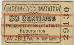 PARIS : Ticket D'entrée Pour Le Jardin D'acclimatation - Verso : Pub. Pour La Livraison De Lait Frais Avec Prix. (curios - Tickets D'entrée