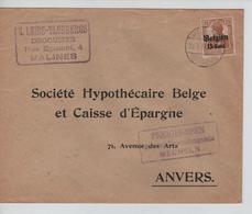 JS603/ Guerre-Oorlog 14-18 TP Oc 15 S/L.Leirs-Vloebergs Droguiste Malines Càp Mechelen 1917+censure V.Anvers - WW I
