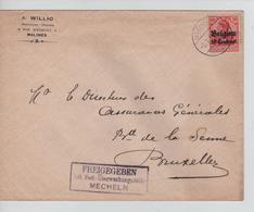 JS604/ Guerre-Oorlog 14-18 TP Oc 3 S/L.Entête A.Willio Pharmacien-Chimiste Malines Càp Mechelen 1916+censure V.BXL - [OC1/25] General Gov.