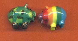 Lot De 2 Feves De La Serie Pig Party 2006 - Cochons - Animals