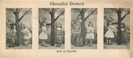 CHROMO CHOCOLAT DAMOY  4 VUES  BOB ET SUZETTE    FORMAT 14 X 6 CM - Chocolate