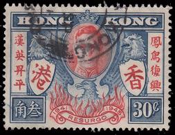 Ritorno Alla Pace Dopo La Seconda Guerra Mondiale - 30 C. Blu/ Rosso - 1946 - Hong Kong (1997-...)
