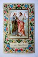 IMAGE RELIGIEUSE...JÉSUS ET UN DISCIPLE...CARTE POSTALE AVEC ENLUMINURES - Images Religieuses