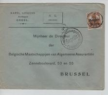 JS607/ Guerre-Oorlog 14-18 TP Oc 15 S/L.Entête K.Liekens A.G. Gheel CGheel 1917 Censure Turnhout V.BXL - WW I