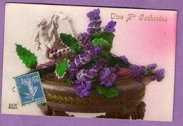 Carte Vive Sainte Catherine  Fleur Sur Gueridon Avec Biscuit - Fantaisie - Sint Catharina