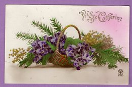 Carte Vive Sainte Catherine  Fleur Mimosa Edition Noyer - Fantaisie - Sint Catharina