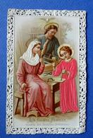 IMAGE PIEUSE.... GAUFRÉE....LA SAINTA FAMILLE....VÊTEMENTS EN SOIE - Devotion Images