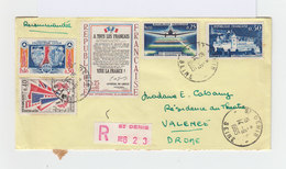 Sur Enveloppe Recommandée 4 Timbres Dont 1 Service Aéropostal Et 1 20 ème Ann. Libération. CAD Saint Denis 1965. (858) - Marcophilie (Lettres)