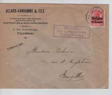 JS612/ Guerre-Oorlog 14-18 TP Oc 3 S/L.Entête Allard-Vandamme Pantoufles&Souliers Cousus C.Tournai 1915+censure V.BXL - WW I