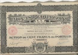 MINES PEDRAZZINI - MEXIQUE ANNEE 1926 -LOT DE 5  ACTION DE 100 FRS - Mines