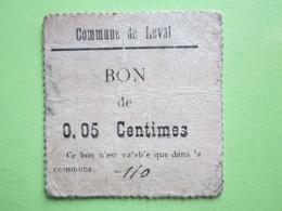 BON De 0,05 Centimes, Commune De LEVAL (59) - 1914-1918 - Bons & Nécessité