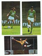 ST ETIENNE - A S S E -  3 CARTES JOUEURS FOOTBALL   CURKOVIC , HERVE REVELLI , PIAZZA  - Verso Publicité MANUFRANCE - Football