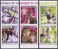 Série De 6 TP Neufs ** N° 874/879(Yvert) Tchad 1997 - Animaux Sauvages Et Scoutisme - Chad (1960-...)