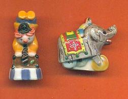 Lot De 2 Feves De La Serie Le Jouet Du Cirque 2005 - Clown - éléphant - Characters