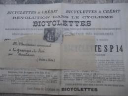 Bicyclette à Crédit Révolution Dans Le Cyclisme Vélo Gladiator Prospectus 1894 - Sports & Tourisme