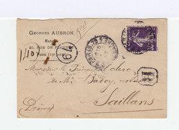 Sur Enveloppe Recommandée Type Semeuse 35 C. Violet CAD Paris 79 1907. CAD Destination Saillans . (864) - Marcophilie (Lettres)