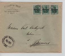 JS613/ Guerre-Oorlog 14-18 TP 11(3) S/L.Entête Armand De Ville Avocat Huy Càp Huy 1917+censure V.Braives - WW I