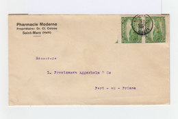 Sur Enveloppe Paire De 5 C. Vert. CAD Saint Marc Haïti 1936. CAD Destination Port Au Prince. Publicité Café Haïti. (865) - Haiti