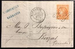 1870 Bordeaux  N°48 (pos 5 Du Report), 40c Orange Sur Lettre De Marmande Pour Bazas... TTB, Signé Baudot - 1870 Emisión De Bordeaux