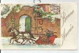 Mignonnette. Bonne Année. Couple Belle-époque Dans Un Traîneau à Deux Chevaux Dans Une Rue Enneigée. - New Year