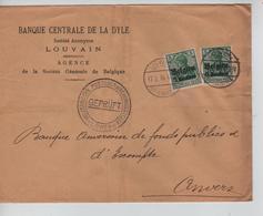 JS616/ Guerre-Oorlog 14-18 TP Oc 2(2) S/L.Entête Banque Centrale Dyle Louvain Càp Löwen 1916+censure V.Anvers - Guerra 14 – 18