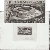 Dahomey 1968 Y&T PA 89. Épreuve D'artiste. Jeux Olympiques De Mexico. Stade Aztèque à Mexico - Zomer 1968: Mexico-City