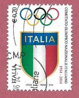 ITALIA REPUBBLICA USATO - 2014 - Centenario Della Fondazione Del CONI - € 0,70 - S. 3487 - 2011-...: Afgestempeld