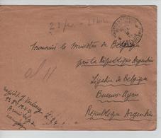 JS618/ Lettre En Franchise 9° Bri.M.V.D.armée En Campagne C.PMB.BLP 23/2/18 V.Légation Belge Argentine C.arrivée - Army: Belgium