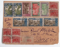 CA24 Enveloppe  Avec 27 Timbres Sur 2 Faces De Guyane Française: Trés Beau! - Briefe U. Dokumente