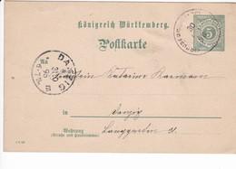 Ganzsache Württenberg P37 Druckdatum 1 8 96, Nach Danzig  30.10.1896 - Danzig