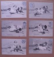 """11/138-Th Chien Série 6 Cpa """"Une Paire D'amis"""" Petite Fille Et Gros Toutou -Voy 1904 - Enfants"""