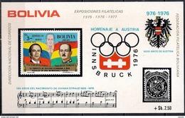 Winter Olympic Games Of Innsbruck - Music Johann Strauss Anniversary - Block Bolivia 1975 (Cat +25 €) MINT - Bolivia
