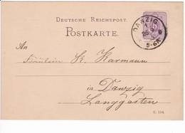 Karte Danzig 26.9.1885 Ortspostkarte (C. 154.) - Danzig