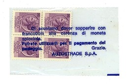 MONETA D'EMERGENZA / SOSTITUTIVA  - AUTOSTRADE SPA 100 LIRE (3/47) - Monetary/Of Necessity
