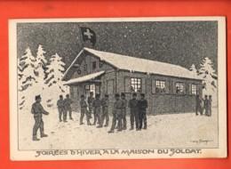 EBD-15 Soirées D'hiver à La Maison Du Soldat, Militaires,Litho.Commission Militaire Romande Et Croix-bleue,cachet Milit. - VD Vaud