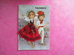 CPA FANTAISIE BRODEE  COUPLE VALCARLOS - Brodées
