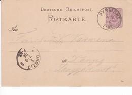 Ganzsache DR P12/02 784, Pyrmont 6.9.1884 Nach Danzig - Danzig