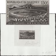Dahomey 1968 Y&T PA 92. Épreuve D'artiste. Jeux Olympiques De Mexico. Stade Olympique De La Ville De Mexico. Football - Zomer 1968: Mexico-City