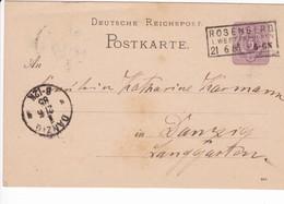 Ganzsache DR P12/02 884, Rosenberg 21.6.1885  Nach Danzig - Danzig