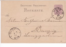 Ganzsache DR P12/02 285, Metz 29.6.1885  Nach Danzig - Danzig