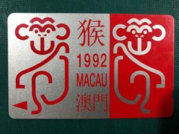 MACAU 1992 ZODIAC YEAR OF THE MONKEY PHONE CARD, FINE USED - Macao