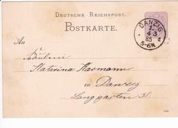 Ganzsache DR P12/02 1184, Danzig 4.3.1885 Ortskarte - Danzig